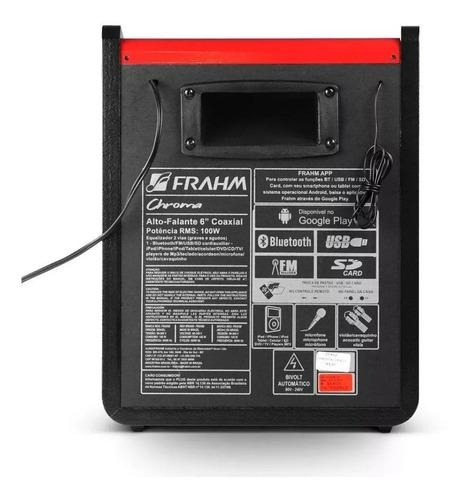 caixa de som frahm chroma cr400 usb bt 100 wrms red