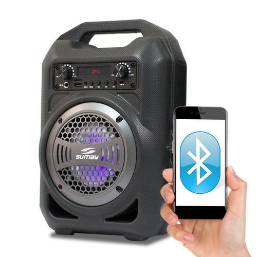 caixa de som gallon music usb bluetooth fm aux e mic bateria