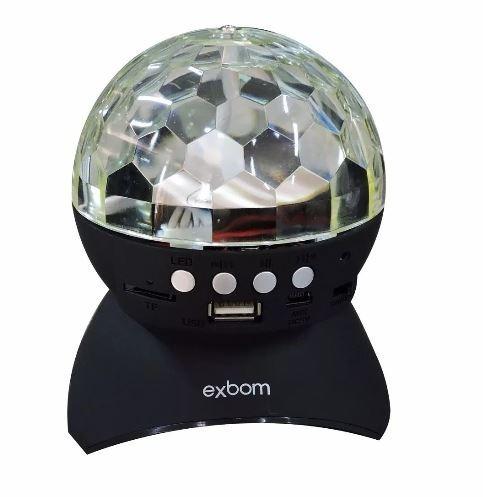 caixa de som globo bola maluca exbom c/ led dj usb/fm/sd
