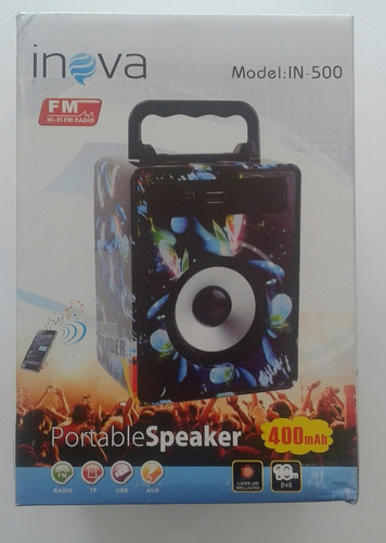 caixa de som inova mod. in 500 radio cartão nim sd /usb/aux