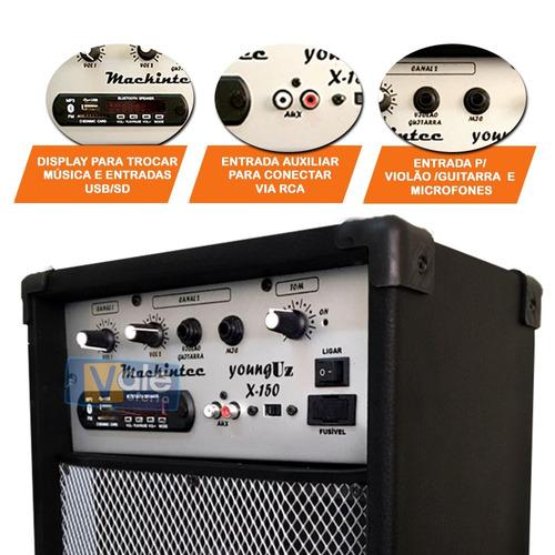 caixa de som mackintec amplificada x150 usb bluetoohth fm