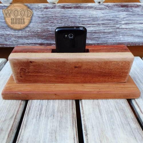 caixa de som para celular smartphone e iphone de madeira dup