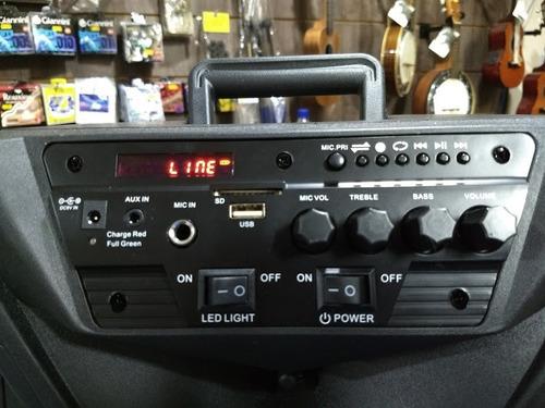 caixa de som portátil 100w bateria bluet usb mic s/ fio