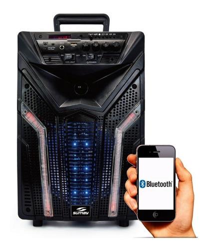 caixa de som portátil 100w bateria bluet usb mic s/ fio elegance sumay