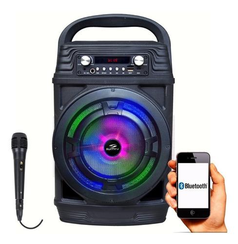 caixa de som portátil 60w rms usb bluetooth ent. microfone