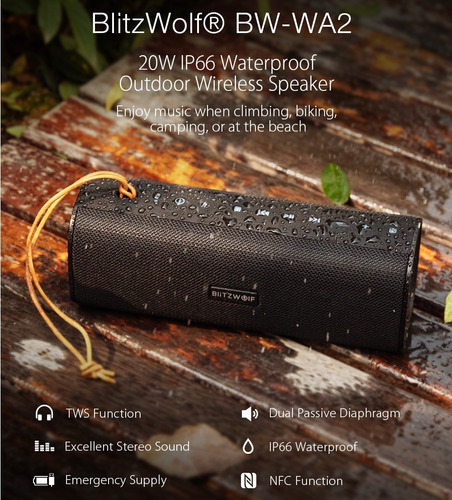 caixa de som portátil blitzwolf bw-wa2 tws 20w bluetooth