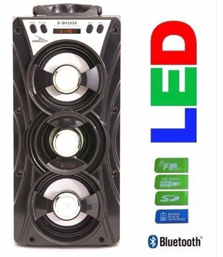 caixa de som portátil bluetooth amplificada 3 falante recarr