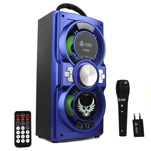 caixa de som portátil bluetooth amplificada microfone grátis