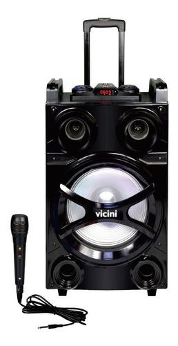 caixa de som portatil usb microfone amplificada rádio fm mp3