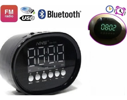 caixa de som radio relogio bluetooth usb led fm despertador