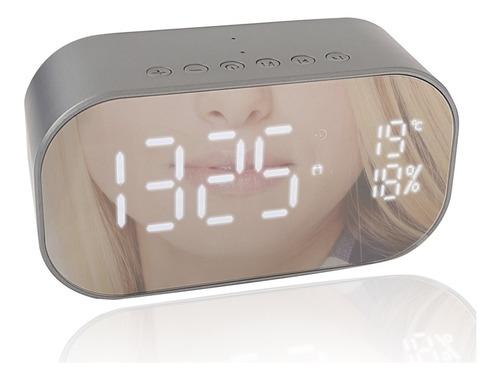 caixa de som rádio relógio despertador bluetooth usb cinza