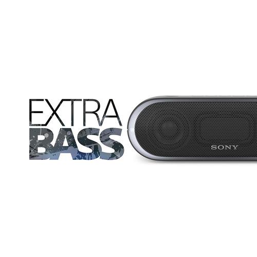 caixa de som sony srs-xb20, extra bass, nfc - preto