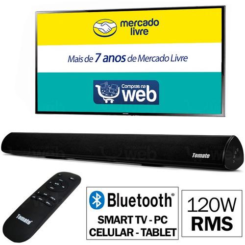caixa de som soundbar bluetooth 120w usb celular mts-2018