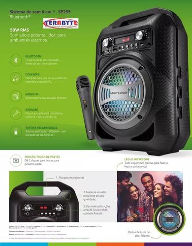 caixa de som sp255  6 em 1 bluetooth 50w rms karaokê rádio
