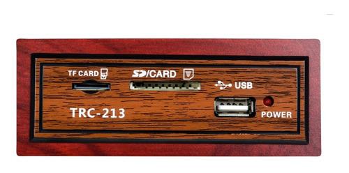 caixa de som trc 213 retrô 35w rms usb bluetooth madeira radio am/fm