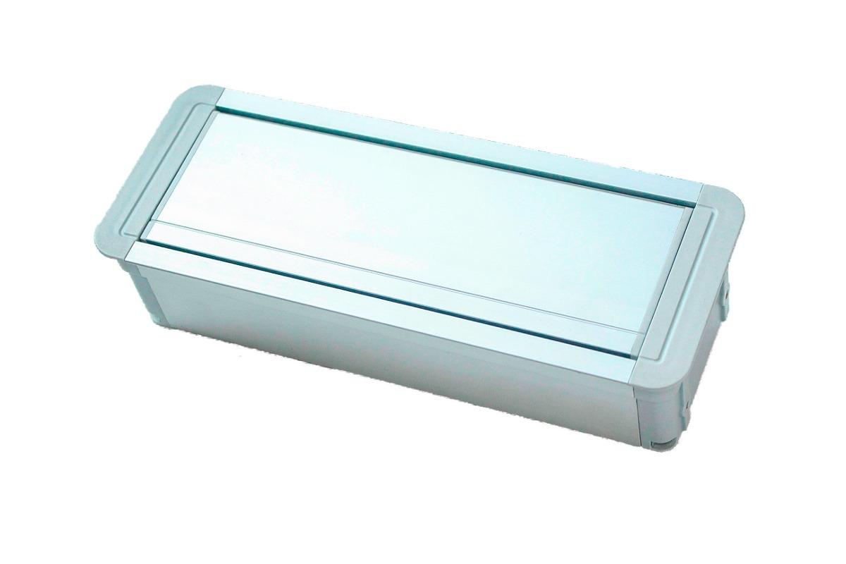 caixa de tomada para mesa de escritorio reuniões slim. #0D3E4D 1200x800