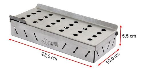 caixa defumação inox smokebox a3 23x10 cm