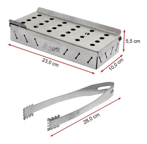 caixa defumação inox smokebox a3 23x10 cm + pegador auxiliar