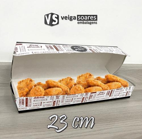 caixa embalagem cachorro quente ou porção 23cm (50 unidades)