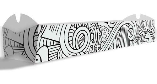 caixa embalagem para espetinho - branco e preto - 100un