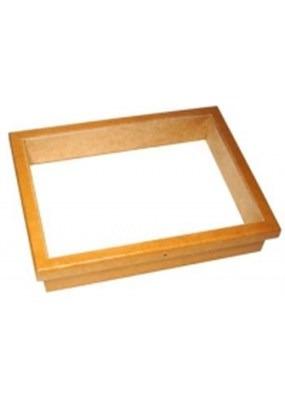 caixa ent de madeira, 40x50x8 cm, com tampa vidro