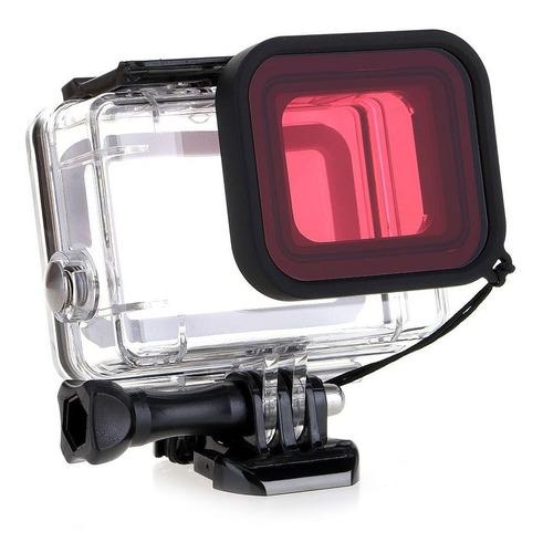caixa estanque com filtro vermelho - gopro hero5 hero6 hero7