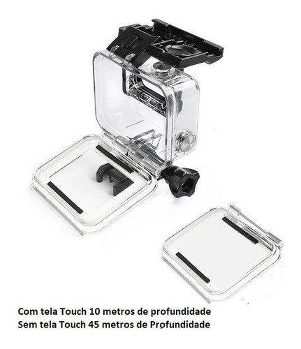 caixa estanque gopro hero 5, 6, 7 prova d'água + tela touch