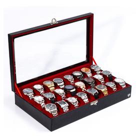 Caixa Estojo Maleta Organizadora 24 Relógios Couro Ecológico