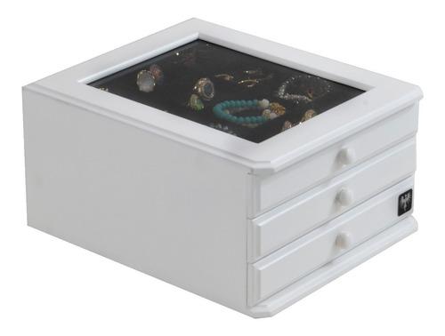 caixa estojo organizar porta jóias bijuterias 3 gav madeira
