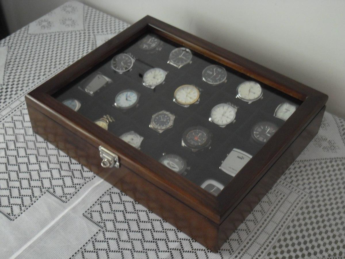 83253d552d2 Caixa Estojo Para 20 Relógios Em Madeira Maciça Luxo Total. - R  259 ...
