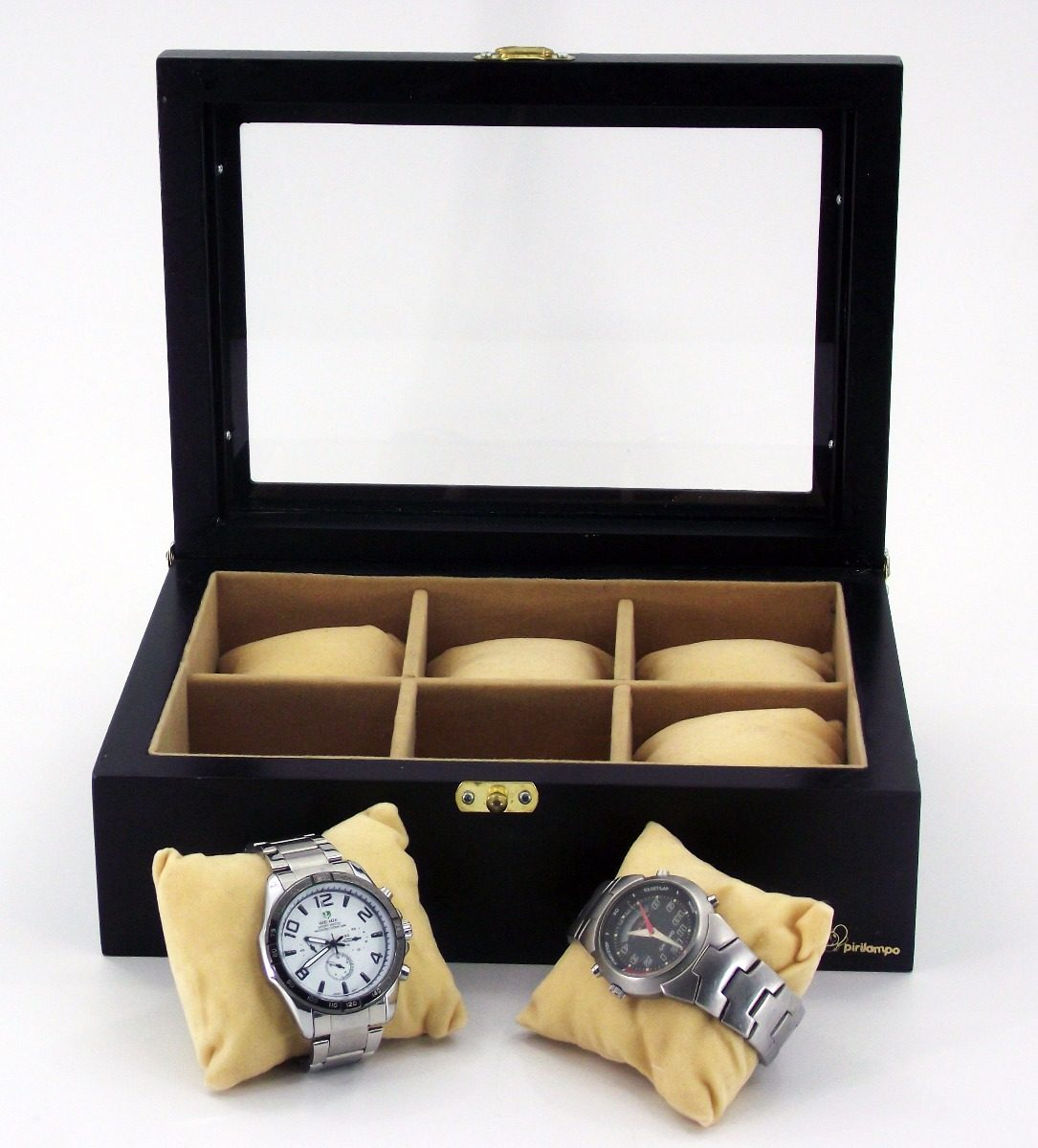 999e432e61c caixa estojo porta 6 relógios organizador luxo. Carregando zoom.