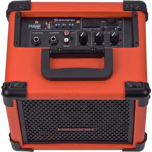 caixa hayonik usb 20w laranja multiuso c/ tweeter player 80