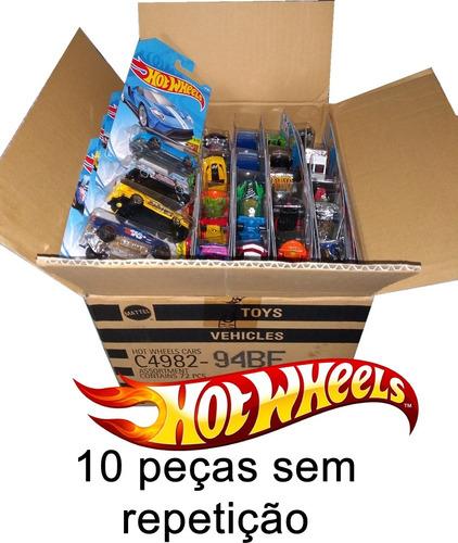 caixa hot wheels c/ 10 carrinhos - sem duplicidade