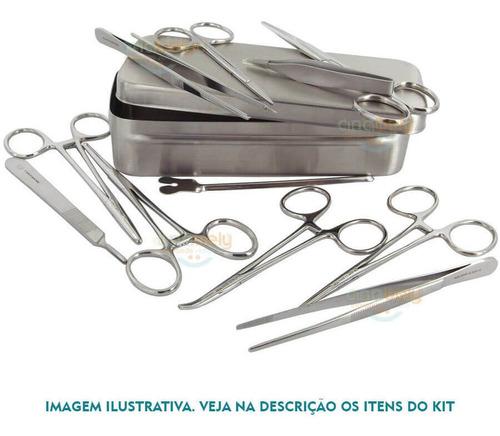 caixa instrumental kit odontologia completa 15 itens odonto