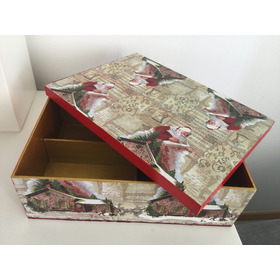 Caixa Madeira  Mdf Tema Papai Noel