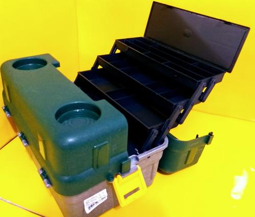caixa maleta banqueta pesca hi 6 bandejas + enrolador linha