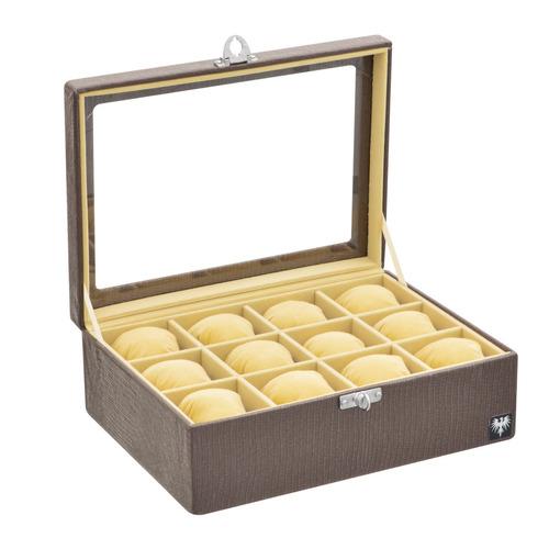 caixa maleta estojo guarda 12 relógios grande couro ecológic