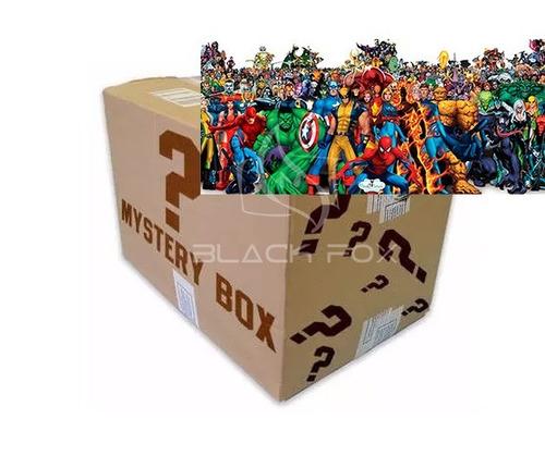 caixa misteriosa tema heróis marvel camiseta + 4 itens - nf