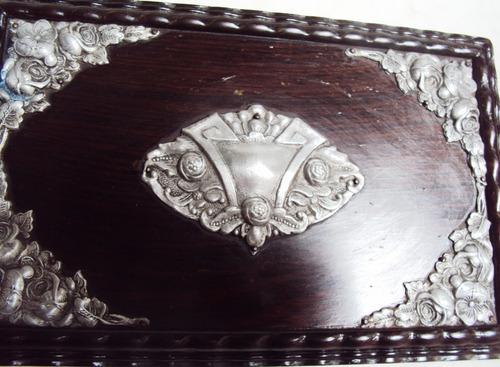 caixa música antiga suíça reuge madeira jacarandá e metal