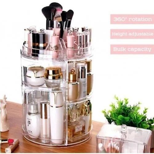 caixa organizador de cosmeticos perfumes maquiagem giratorio