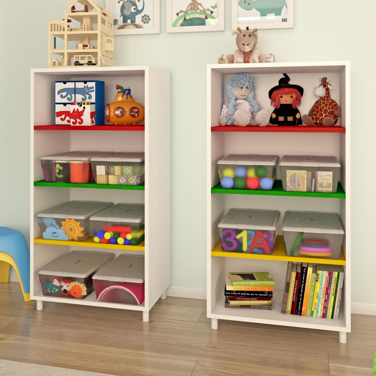 Caixa organizador prateleiras brinquedos estante colorida for Estantes para juguetes