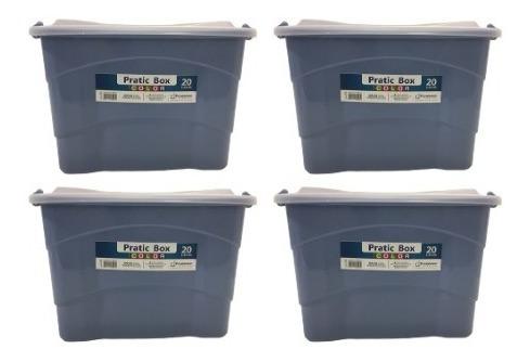 caixa organizadora 20 litros pratic box paramount 4 peças