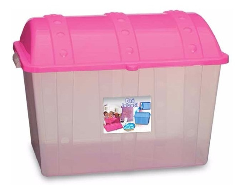 caixa organizadora bau infantil plastico rosa brinquedos