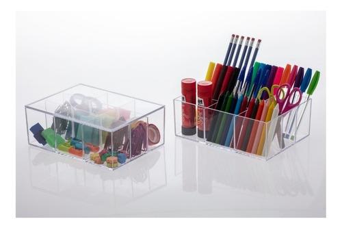 caixa organizadora com 9 divisórias acrílico 22,5x16,5x8,5cm