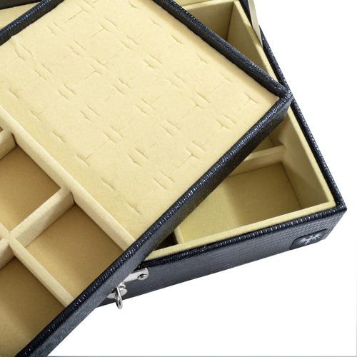 caixa organizadora couro estojo porta jóias bijuterias luxo