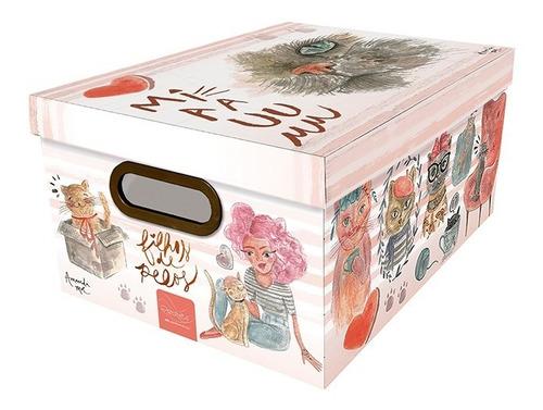 caixa organizadora média estampa de gato