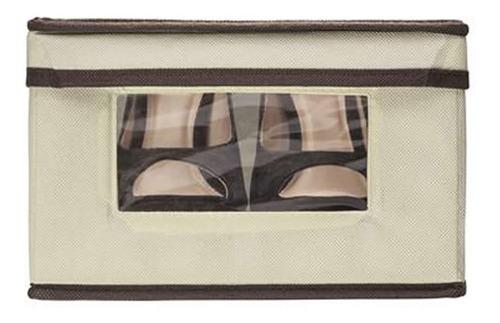 caixa organizadora ordene creme com visor e tampa 25x33x15cm closet armário quarto tampa fundo laterais rígidos c/ nota