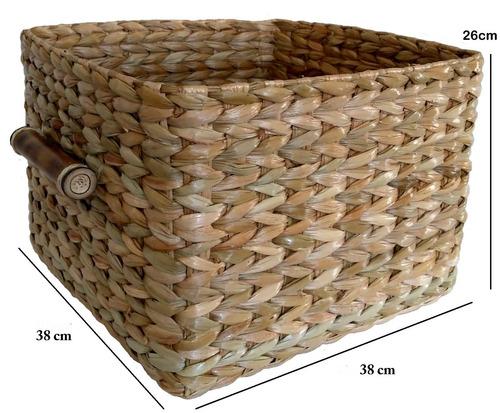 caixa organizadora palha de taboa vime ref.3042 42x38x26