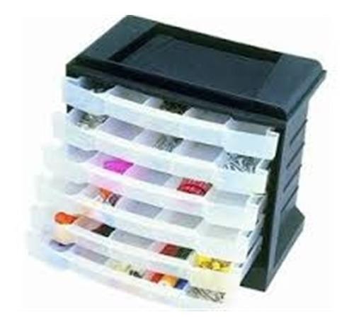 caixa organizadora plástico 6 gavetas  32 divisorias replast