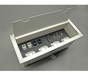 caixa painel  conexão ac hdmi rj mesa de reunião branca